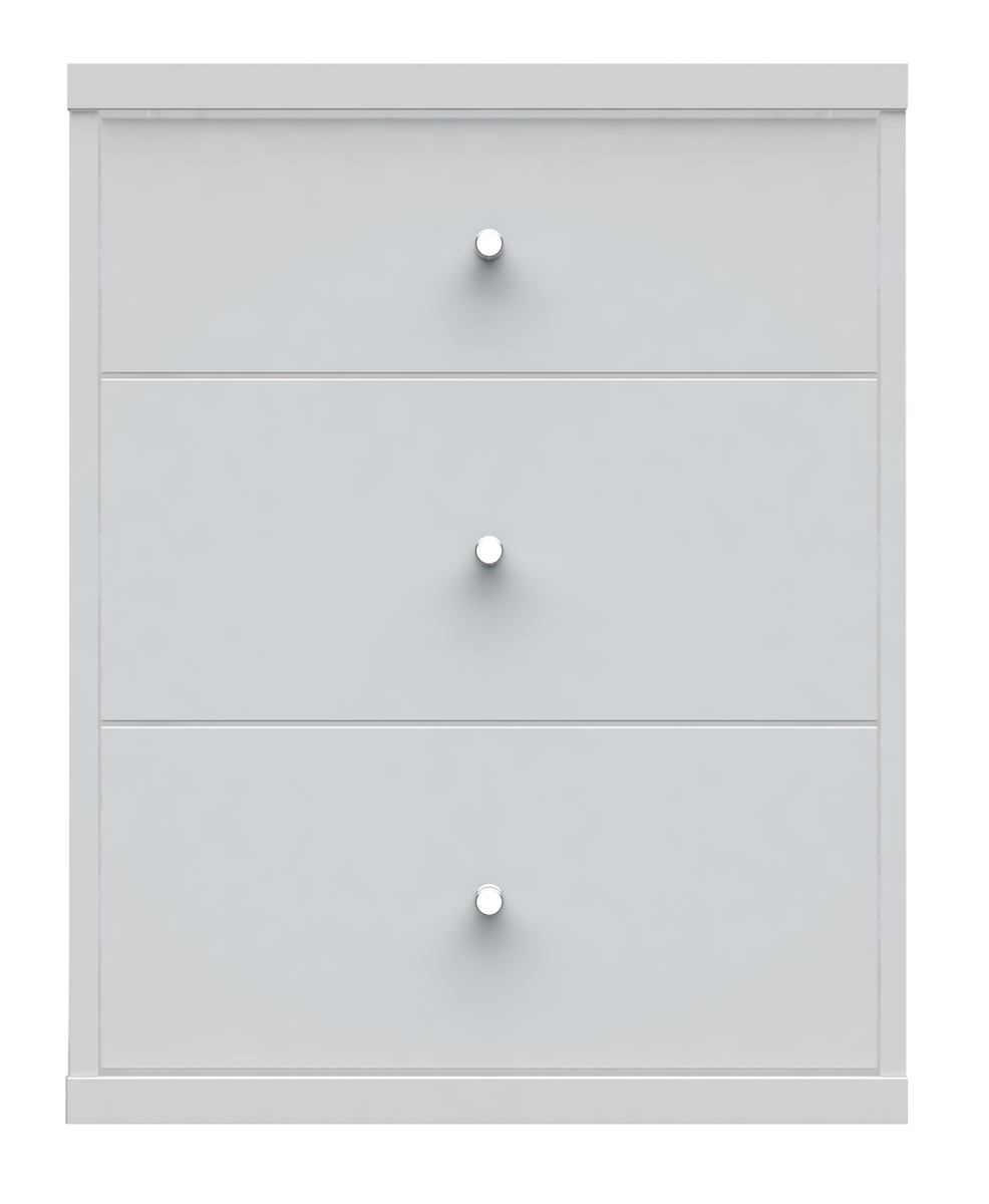 Manhattan Comfort Astor 2.0 3 Drawer Modern Nightstand in White 72152