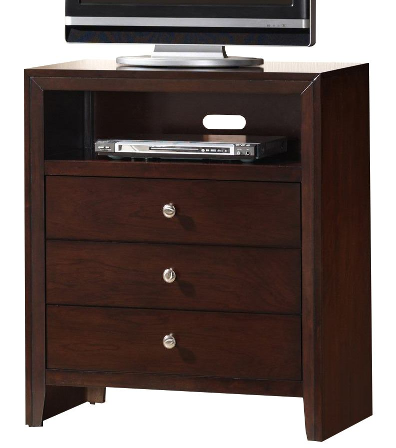 Crown Mark Furniture Evan Media Chest in Warm Brown B4700-7