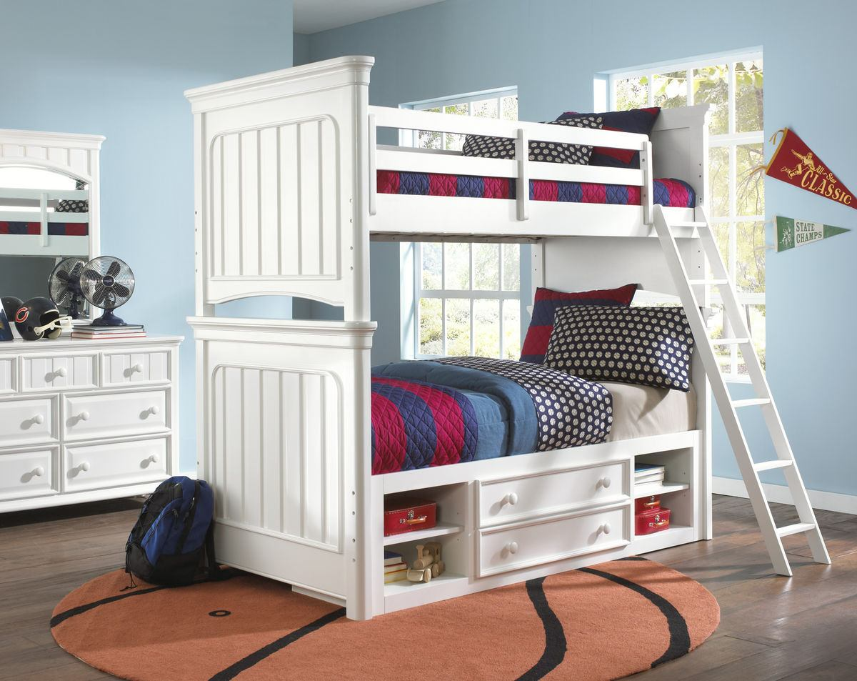 Samuel Lawrence Furniture SummerTime Twin/Twin Bunk Bed with Underbed Storage in Bright White
