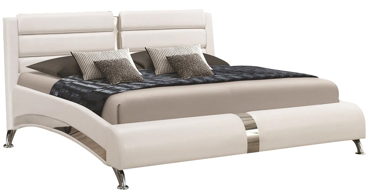Coaster Felicity King Panel Bed  with Metallic Legs in Glossy White 300345KE SPECIAL