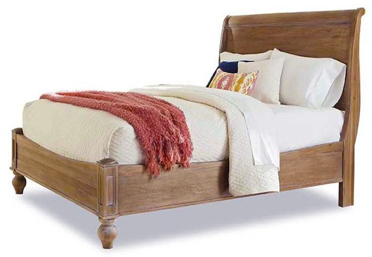 Cresent Fine Furniture Cottage King Sleigh Panel Bed in Weathered Natural