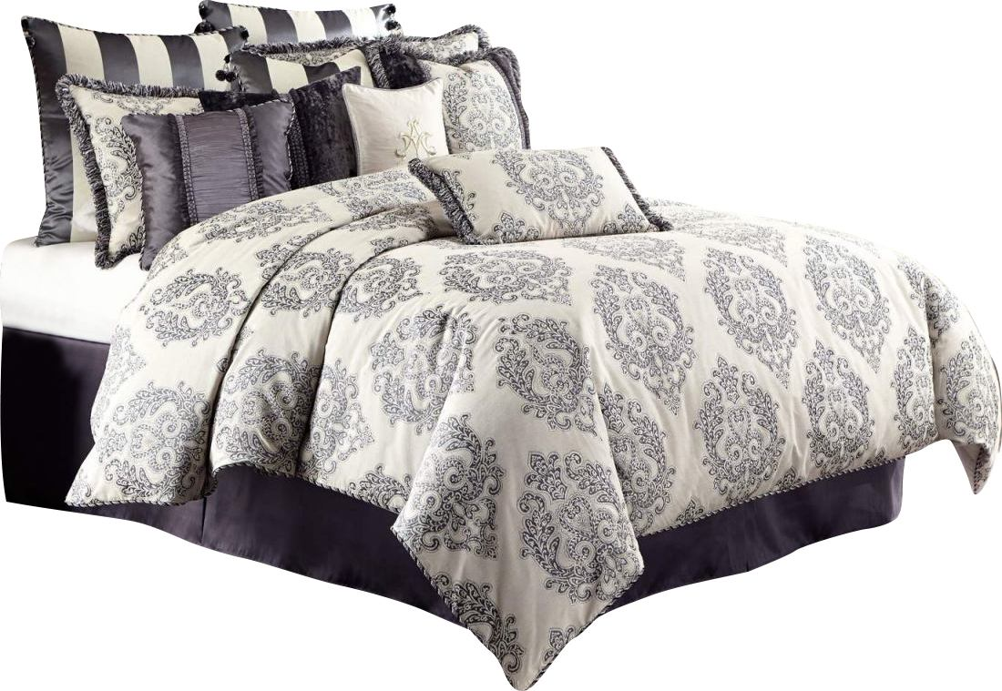 AICO Peyton 13-pc King Comforter Set in Graphite BCS-KS13-PYTON-GRA