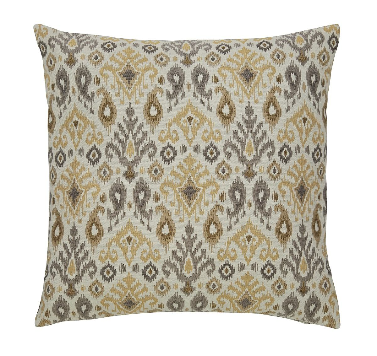 Damarion Ikat Designed Pillow in Taupe and Gold (Set of 4)