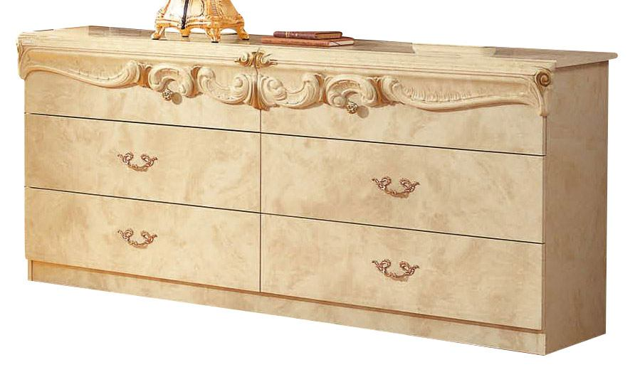 ESF Furniture Barocco Double Dresser in Ivory