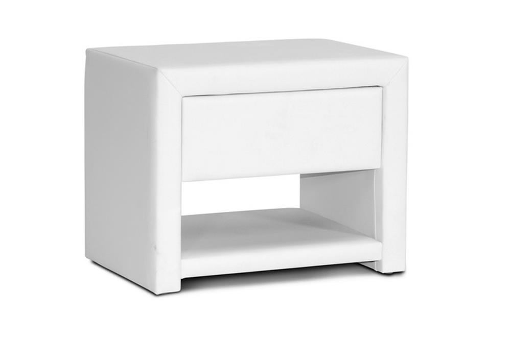 Baxton Studio Massey Upholstered Modern Nightstand in White