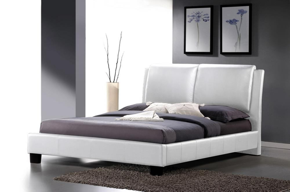 Baxton Studio Sabrina Full Modern Bed with Overstuffed Headboard in White