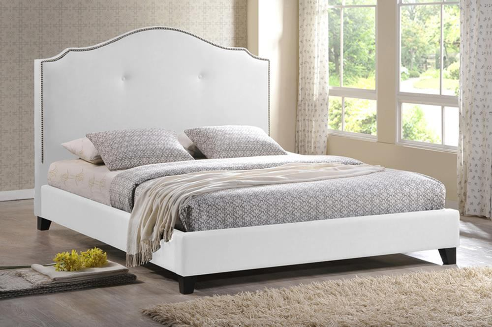 Baxton Studio Marsha King Scalloped Linen Modern Bed with Upholstered Headboard in White