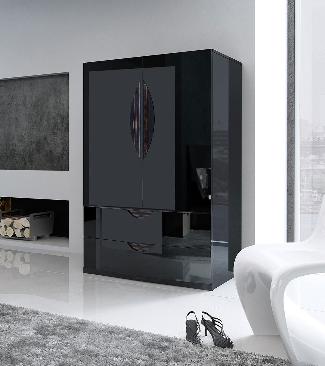 ESF Furniture Marbella 2 Door Wardrobein Black