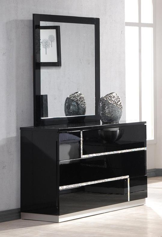 Lucca Dresser and Mirror in Black Lacquer 17685-DM
