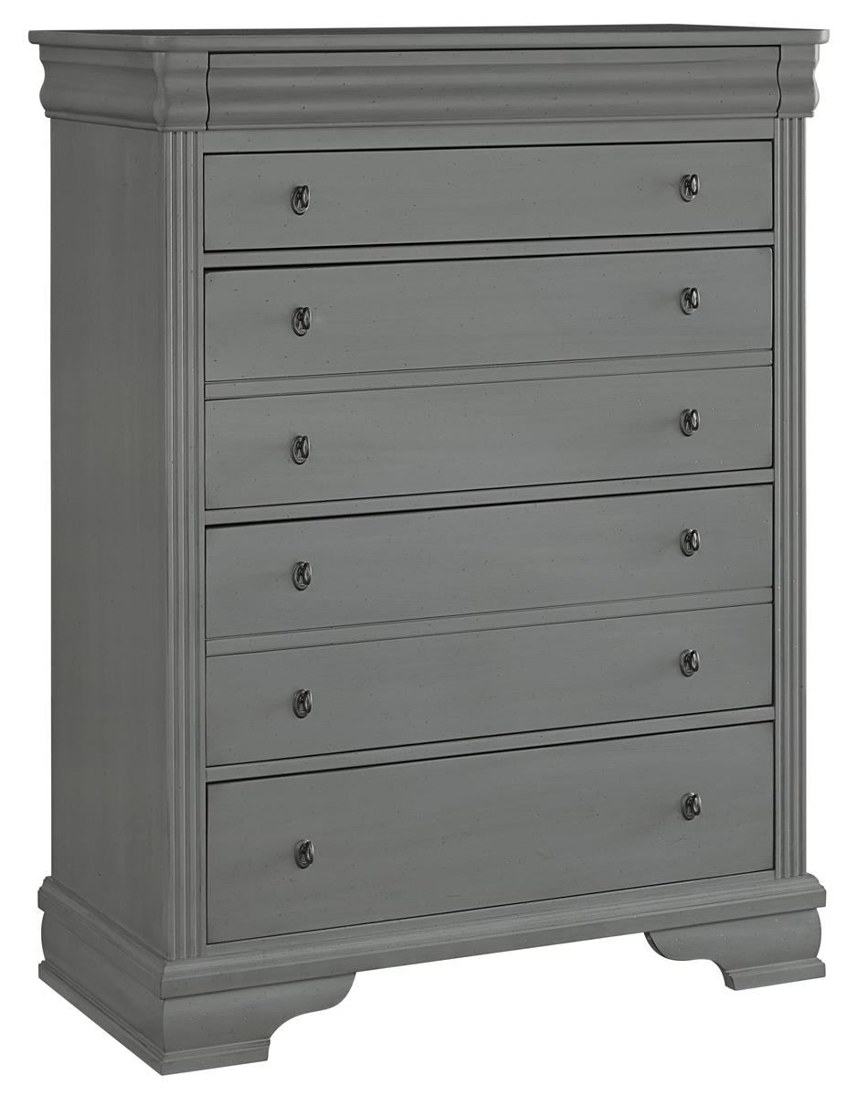 All-American French Market 5 Drawer Chest in Zinc