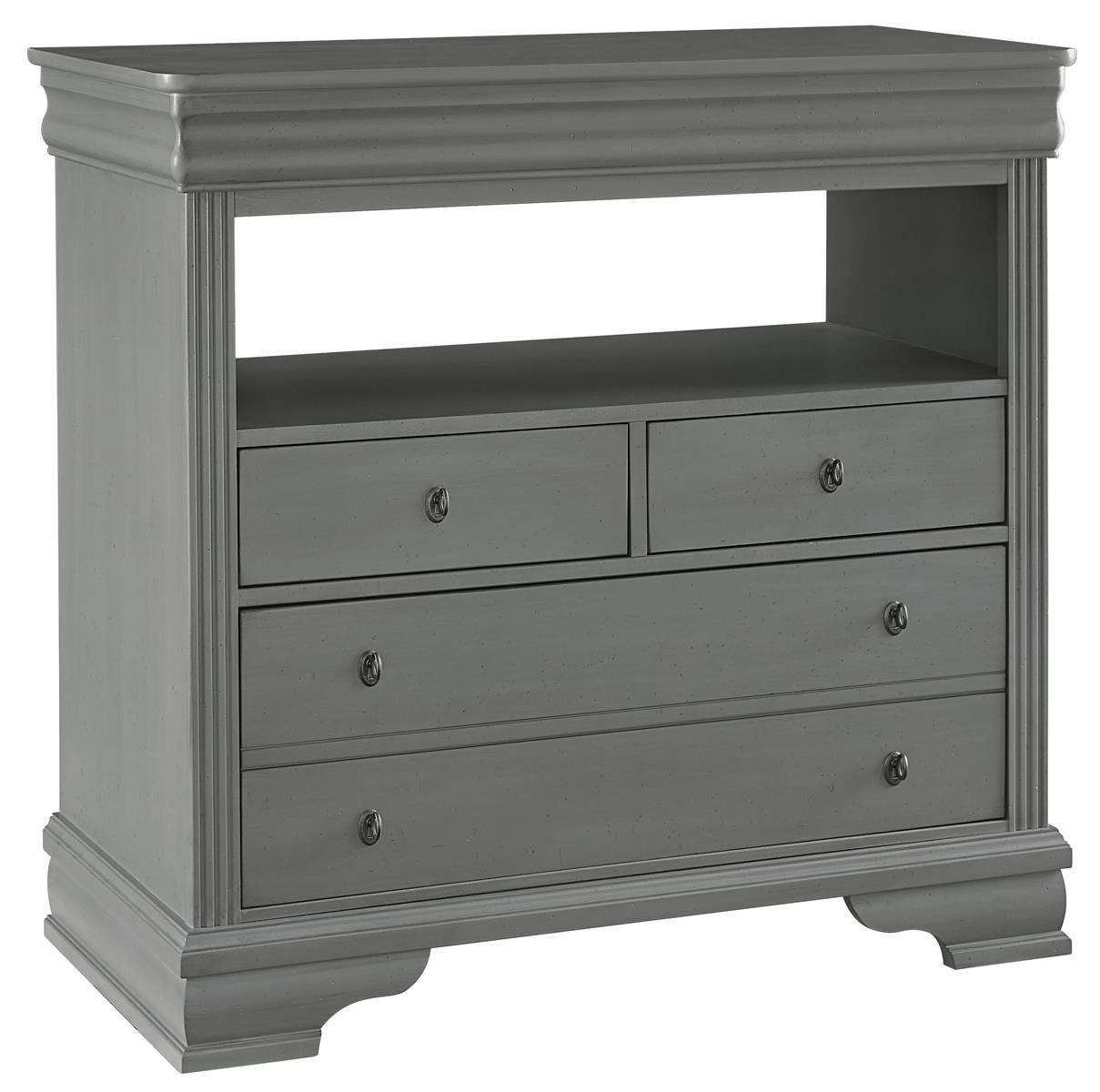 All-American French Market 4 Drawer Media Chest in Zinc