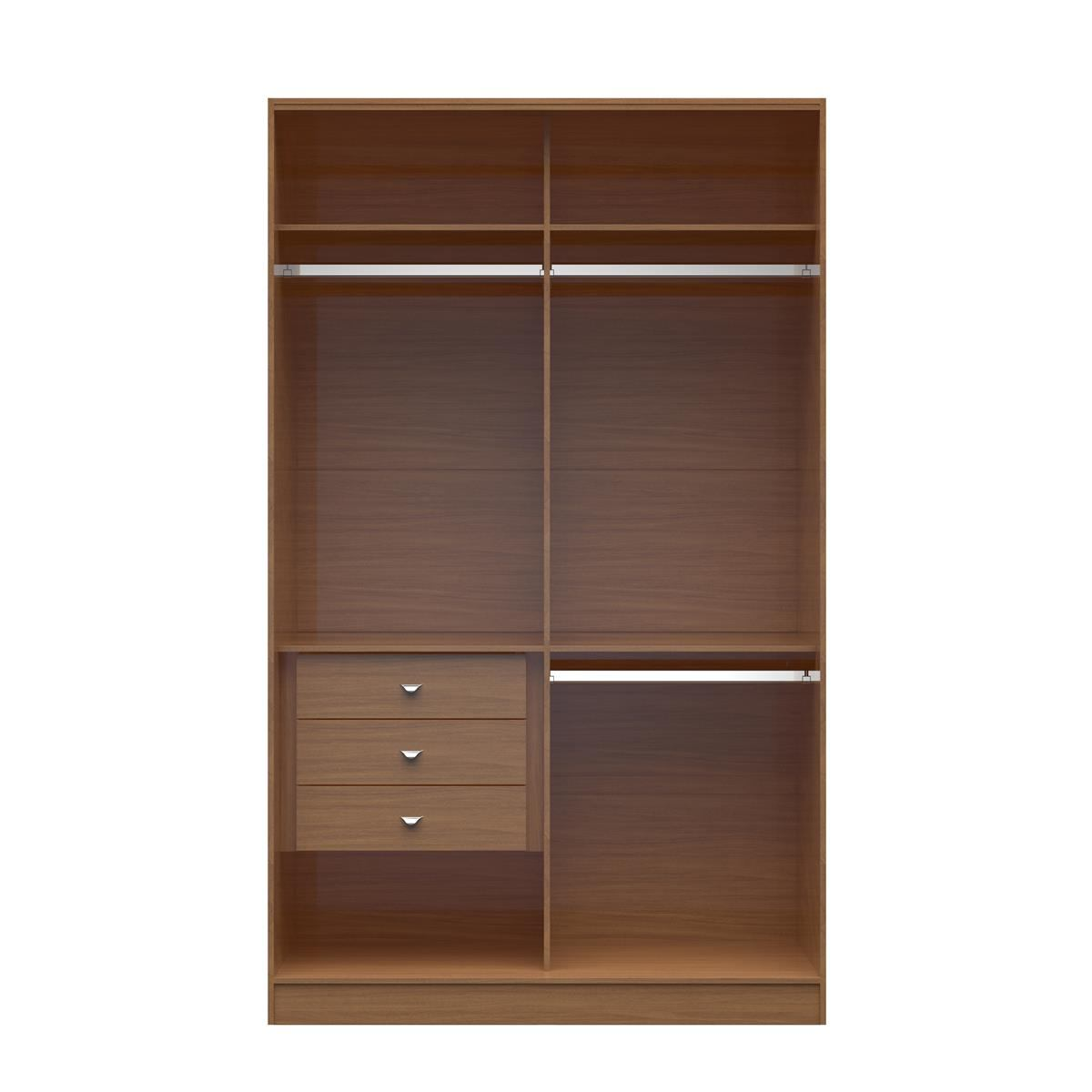 Manhattan Comfort  Chelsea 1.0 Double Basic Wardrobe with 3 Drawers  in Maple Cream 116951