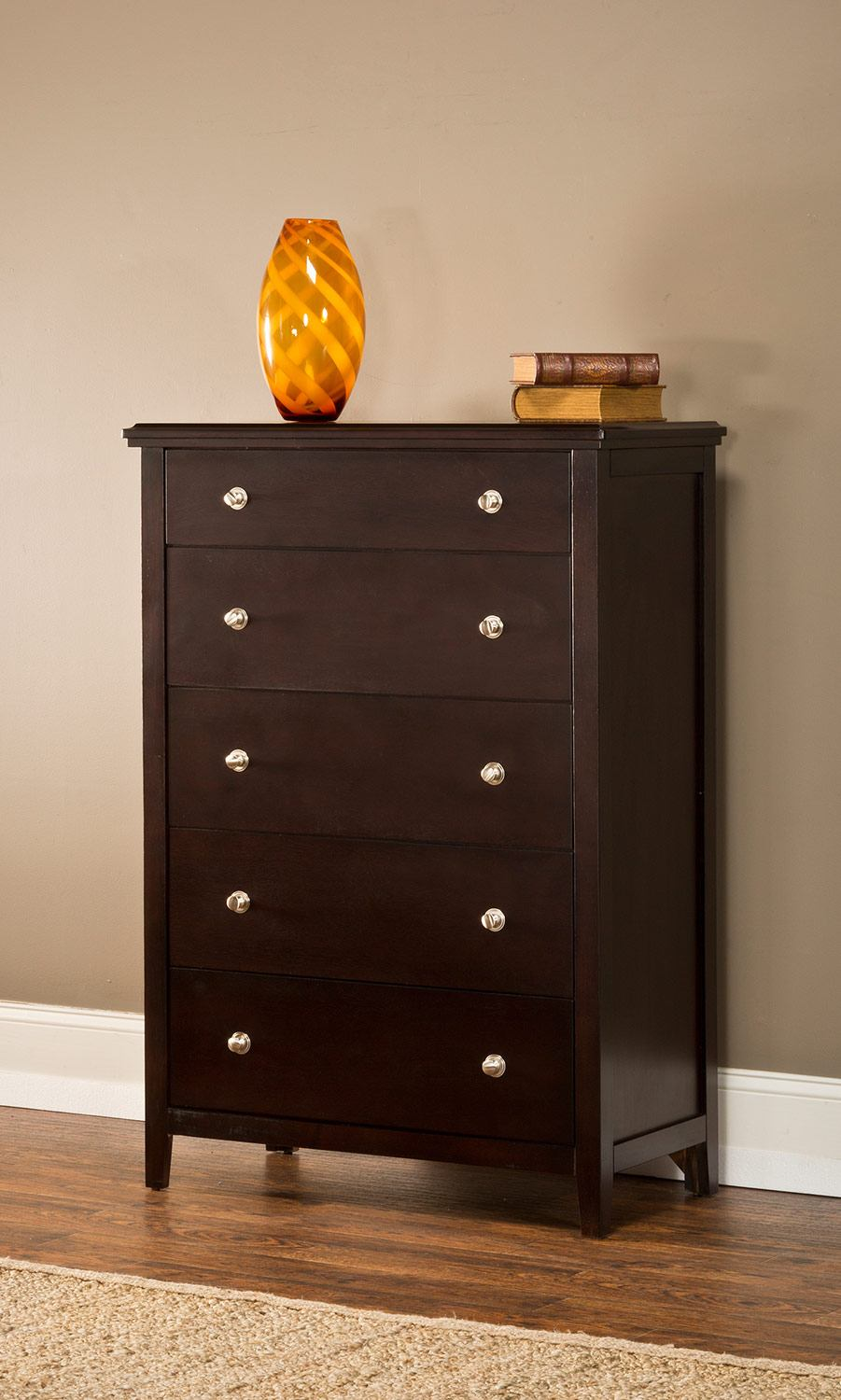 Hillsdale Metro Five Drawer Chest in Rich Espresso 1154-785