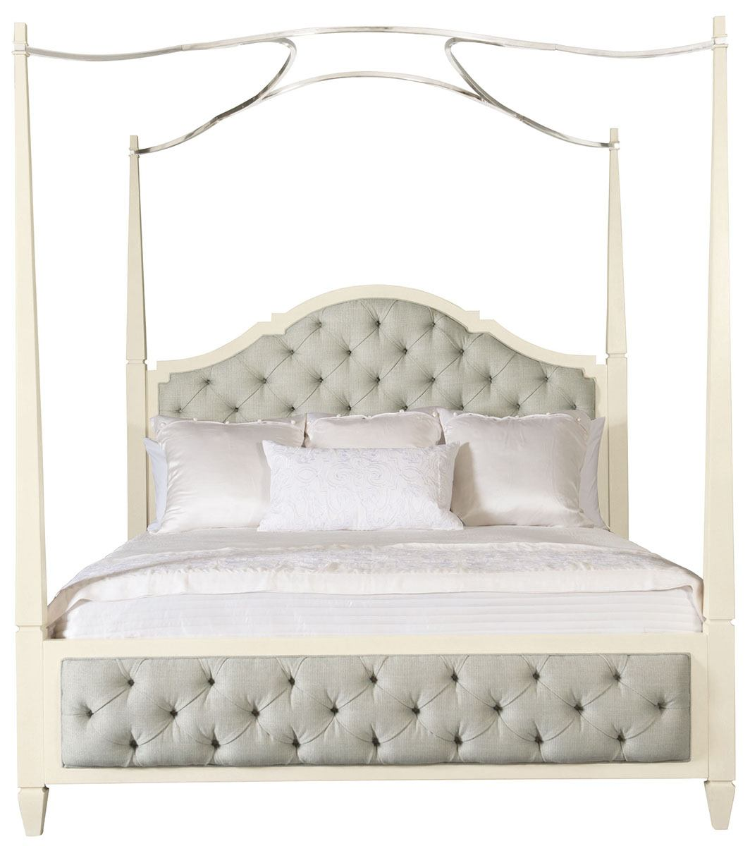 Bernhardt Savoy Place King Upholstered Poster Bed with Canopy in Ivory
