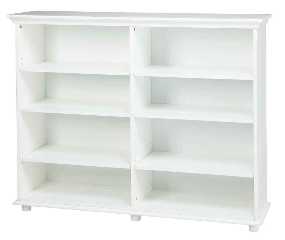 Maxtrix 8 Shelf Bookcase with Crown and Base in White HUGE 8-002