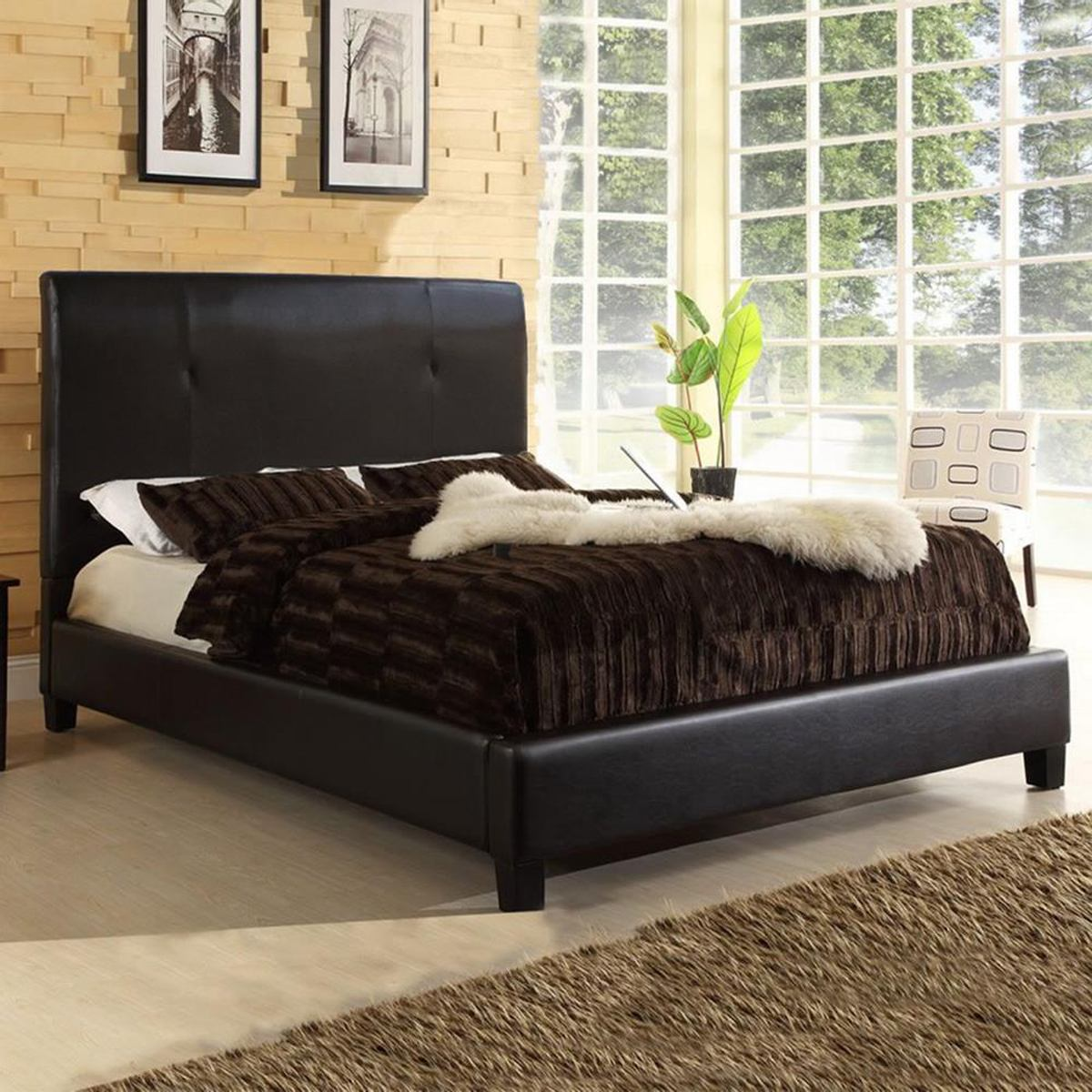 Baxton Studio Cambridge Full Bed in Dark Brown