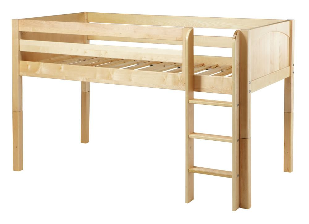 Maxtrix Bare Bone Twin Size Low Loft (Low/Low) Panel Bed with Straight Ladder in Natural LOW RIDERNP