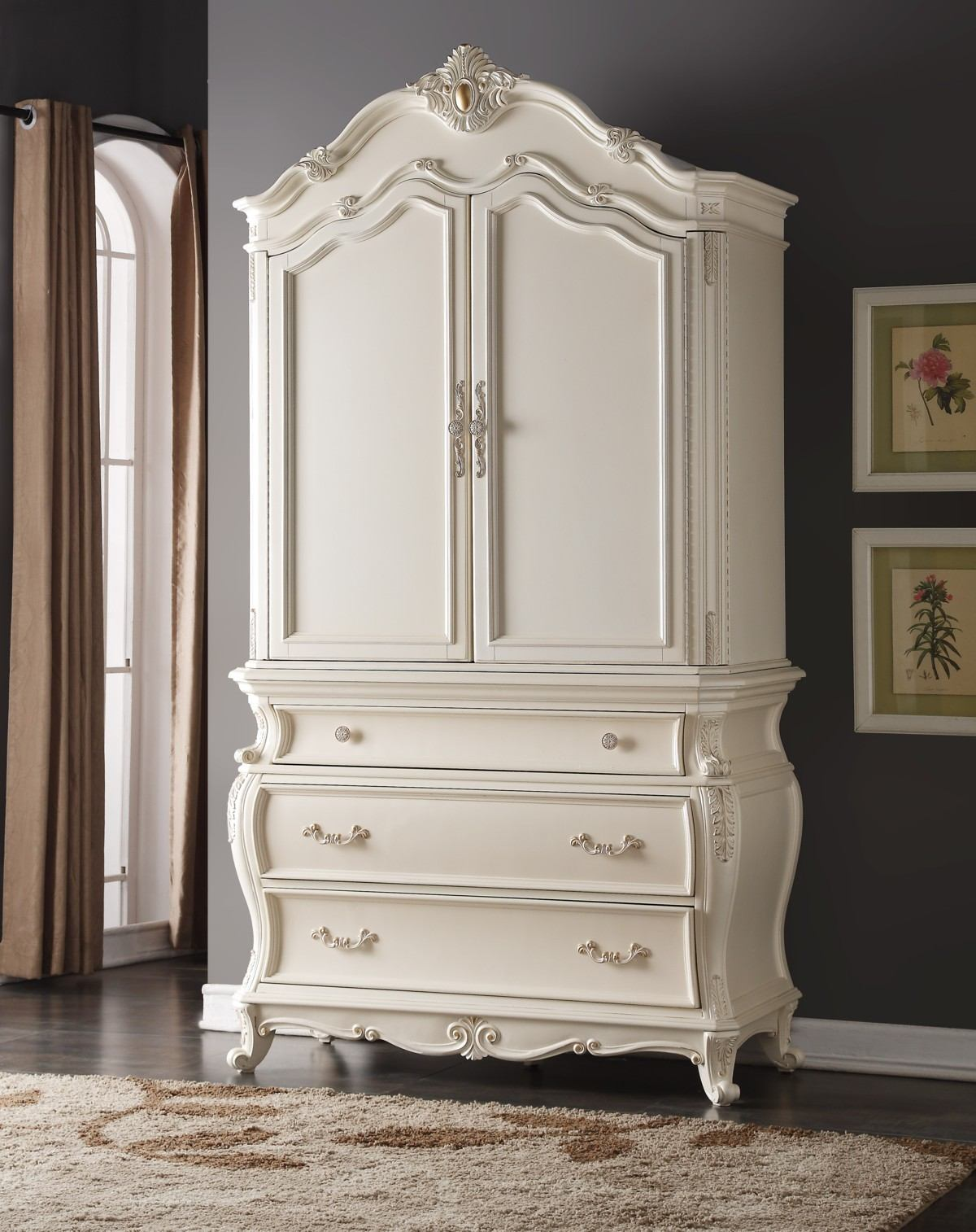 Meridian Marquee Armoire in Pearl White
