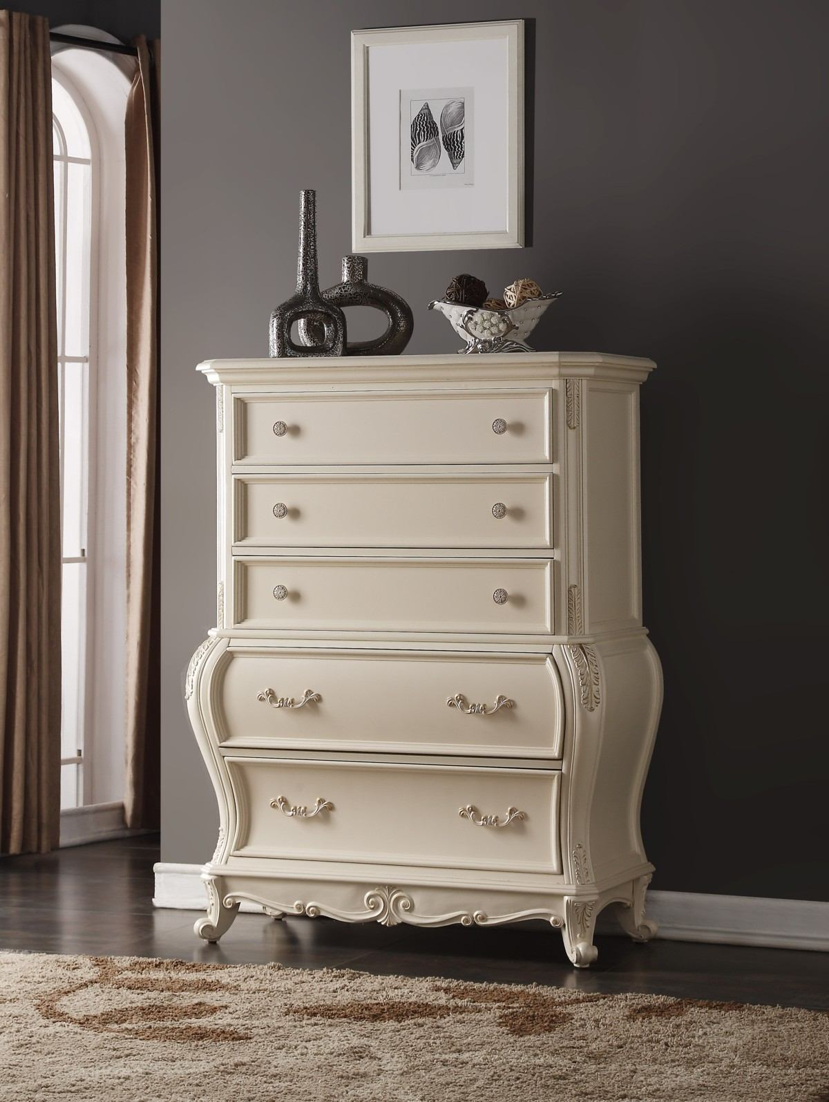 Meridian Marquee 5 Drawer Chest in Pearl White
