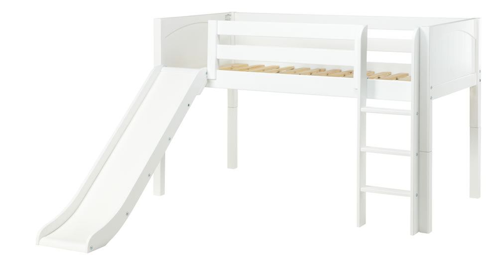 Maxtrix Bare Bone Low Loft (Low/Low) Panel Bedroom Set in White (Straight Ladder and Slide)