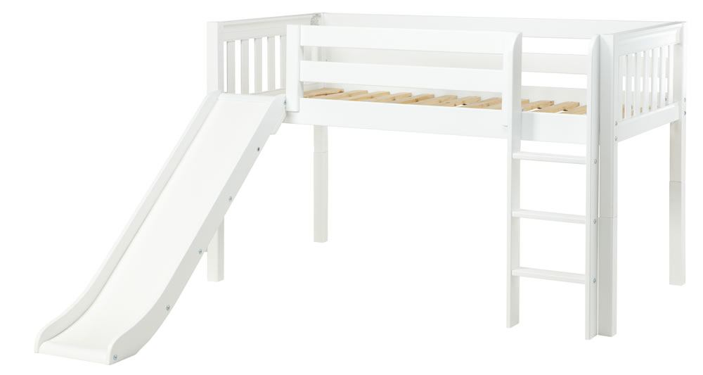 Maxtrix Bare Bone Twin Size Low Loft (Low/Low) Slat Bed with Straight Ladder and Slide in White MARVELOUSWS
