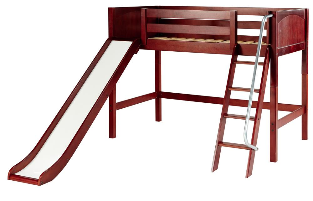 Maxtrix Bare Bone Twin Size Mid Loft (Low/Low) Panel Bed with Angle Ladder and Slide in Chestnut SWEETCP