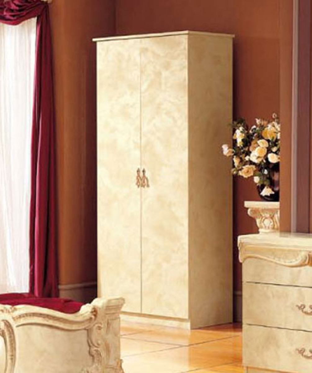 ESF Furniture Barocco 2-Door Wardrobe in Ivory w/ Gold