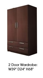 ESF Furniture Maya 2 Door Wardrobe in Dark Wenge