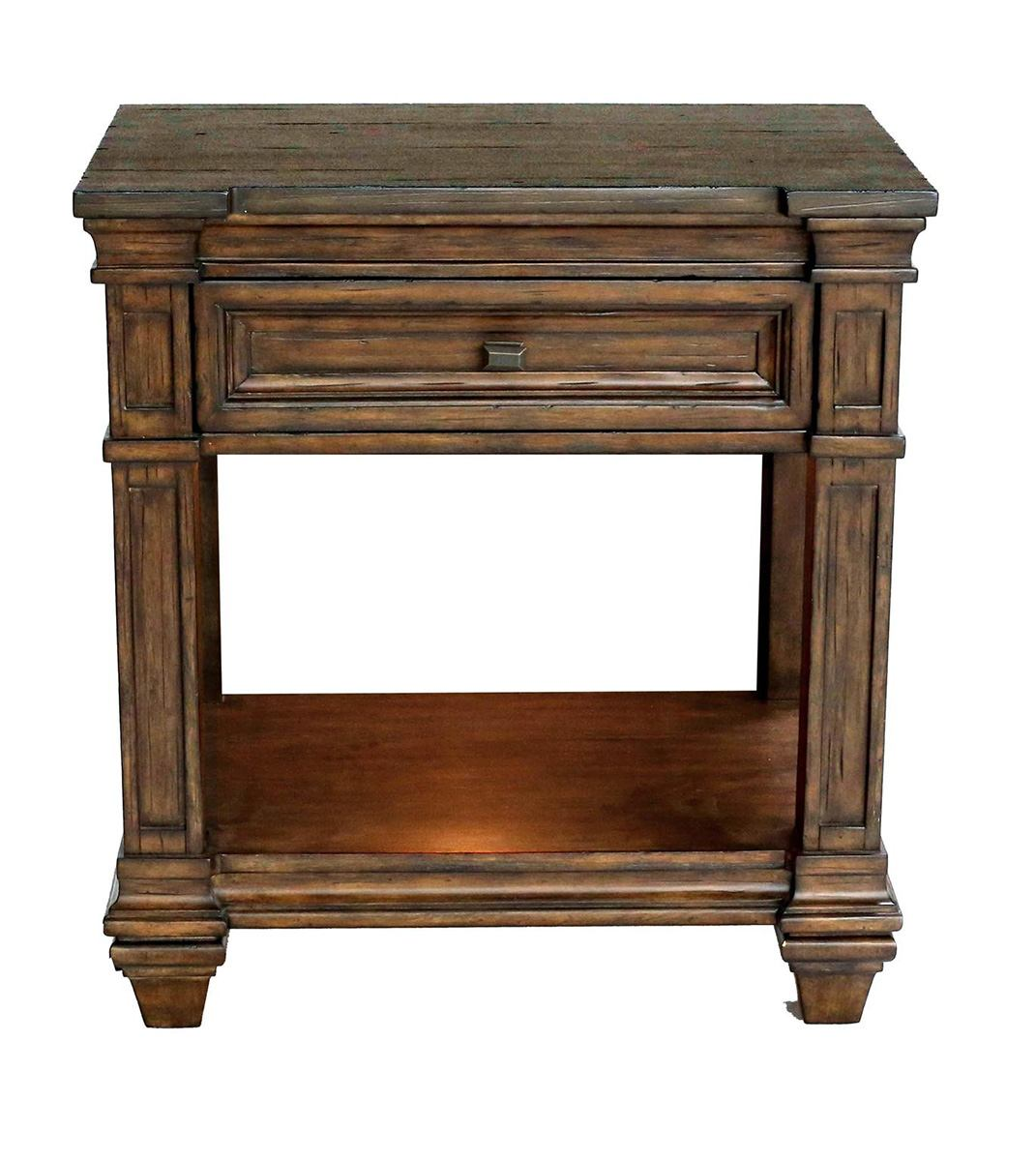 A-America Furniture Gallatin 1 Drawer Bedside Table in Timeworn Mahogany GLNTM5760