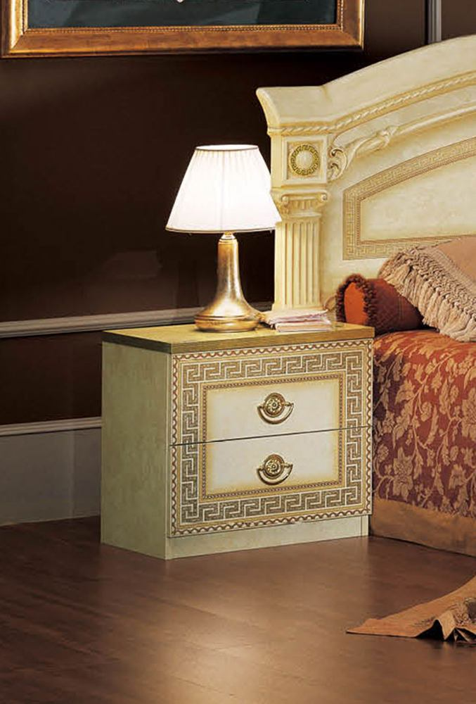 ESF Furniture Aida 2 Drawer Nightstand in Ivory w/ Gold