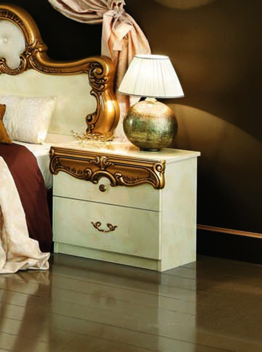 ESF Furniture Barocco Nightstand in Ivory w/ Gold