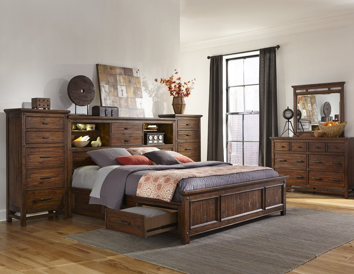 Intercon Furniture Wolf Creek 5 Piece Bookcase Bedroom Set With Storage In  Vintage Acacia