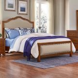 Vaughan-Bassett Artisan Choices King Upholstered Bed in Amish Cherry