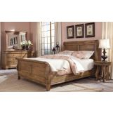 Durham Furniture Vineyard Creek 4-Piece Sleigh Bedroom Set in Aged Wheat