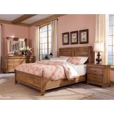 Durham Furniture Vineyard Creek 4-Piece Sleigh Bedroom Set w/ Low Footboard in Aged Wheat