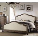 Acme Baudouin Upholstered Queen Bed in Weathered Oak 26110Q