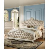 Acme Chantelle Queen Bed with Button Tufted Panels in Pearl White 23540Q