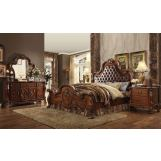 Acme Dresden Upholstered Bedroom Set in Cherry Oak