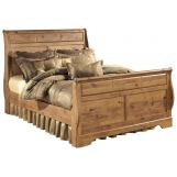 Bittersweet King Sleigh Bed in Pine Grain