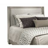 Durham Furniture Modern Simplicity King Upholstered Headboard Bed w/ Wire Brush in Latte 168-145H