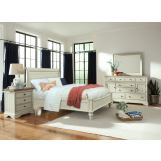 Cresent Fine Furniture Cottage 4-Piece Sleigh Panel Bedroom Set in Antique White