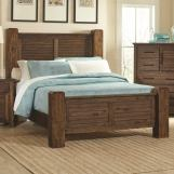 Coaster Furniture Sutter Creek Queen Panel Bed with Block Posts in Vintage Bourbon