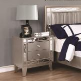 Coaster Furniture Leighton Nightstand with Mirrored Panel Accents in Metallic Mercury 204922