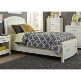 Liberty Furniture Avalon Youth Full Leather Storage Bed in White Truffle 205-YBR-FLS