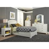 Liberty Furniture Avalon Youth 4 Piece Leather Platform Bedroom Set in White Truffle