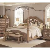 Coaster Furniture Ilana King Canopy Bed with Mirror Back Headboard in Antique Linen