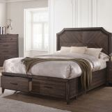Coaster Furniture Richmond Queen Platform Bed with Storage Footboard in Dark Grey Oak