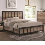 Coaster Furniture Edgewater Full Industrial Panel Bed in Weathered Oak