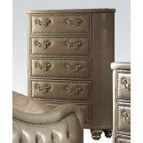 Acme Varada 5 Drawer Chest in Vintage Bone and Champagne Gold 21246
