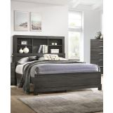 Acme Furniture Lantha Queen Bookcase Panel Bed in Grey Oak 22030Q